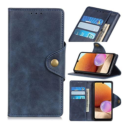 GEEMEE Replacement for Samsung Galaxy M32 4G Funda, Premium PU Lujoso Cuero Wallet Flip Caso Impermeable Anti - arañazos a Prueba de Golpes y Polvo Cierre Imantado Cubierta Case (Azul)