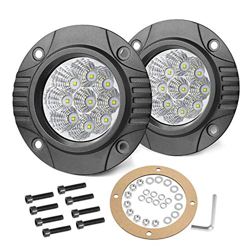 OFFROADTOWN Flush Mount LED Pods, 2pcs 5'' 90W Driving Lights Round Offroad Lights Flush LED Light Bar LED Work Light Fog Lights for Truck SUV UTV Boat 4x4 Grill Mount
