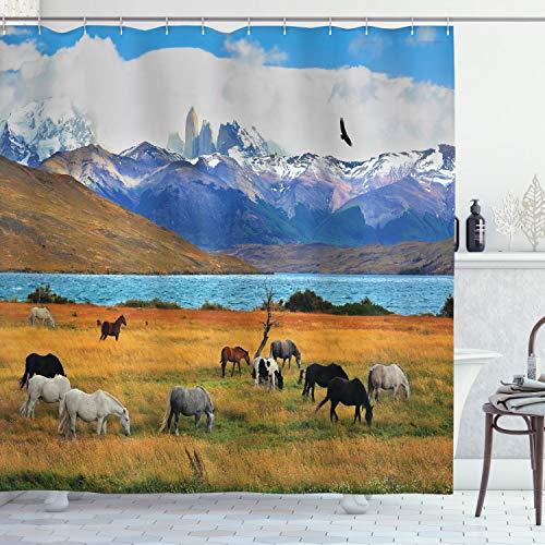 ABAKUHAUS Landschaft Duschvorhang, Bauernhof Pferd im Berg, mit 12 Ringe Set Wasserdicht Stielvoll Modern Farbfest & Schimmel Resistent, 175x200 cm, Mehrfarbig