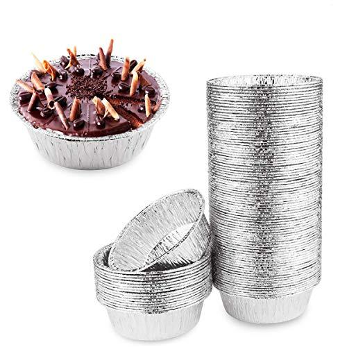 Oopsu 100 Pack 4' Round Tart Pie Foil Pans Disposable Pans Aluminum Foil Tart & Pie Tins Pans for Baking,Cooking,Storage or Reheating