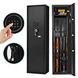 Large Rifle Safe, Pataku Long Gun Safe for Rifle Shotgun for Home, Quick Access 5-Gun Storage Cabinet, with Digital Keypad, Removable Layer for Pistols/Ammo, Black