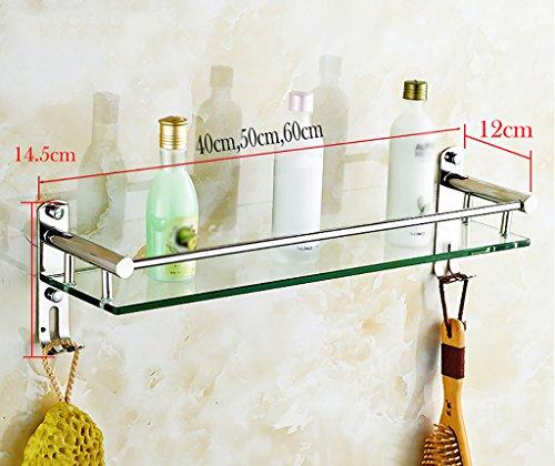 Bathroom Rack YSJ Verre trempé fixé au Mur en Verre rectangulaire d'étagère de Salle de Bains Extra épais, Sable argenté pulvérisé, (Taille : 60 * 14.5 * 12cm)