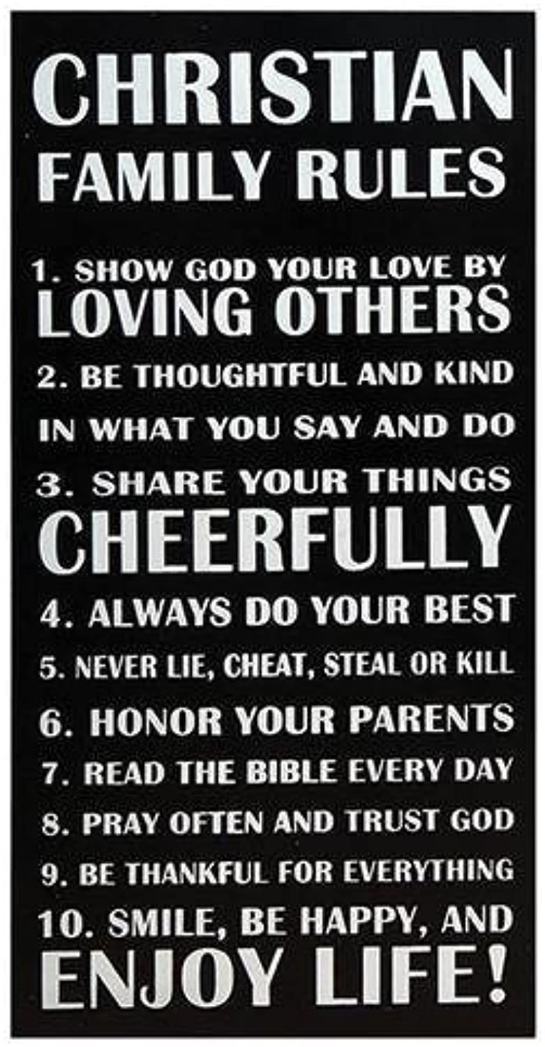 StealStreet SSUGSGD996 20  Christian Family Rules  Decorative Wall Hanging Sign, Black