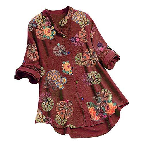 JoJody T Shirt - Camisa de mujer con cuello en V y manga corta, algodón y lino, con botones, estilo vintage, flor, estampado, estilo casual De vino. L