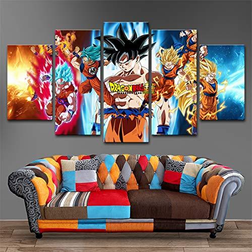 HSART Mural Lona Pinturas Casa Decoración 5 Piezas Anime Dragon Ball Goku Póster Impresiones HD Vendimia Modular Imágenes Sala Habitación Decoración,A,25x40x2+25x60x1+25x50x2