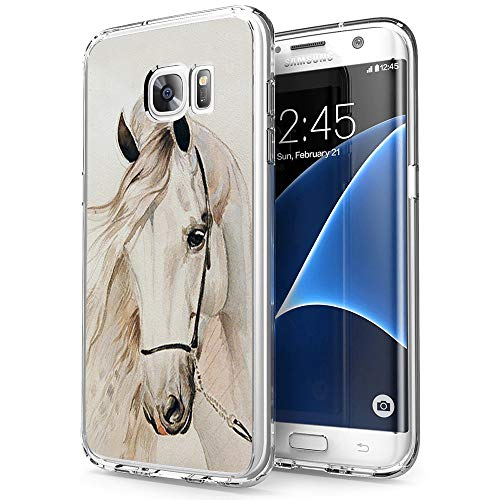 Compatible with Samsung Galaxy S7 Case White Horse Pattern Crystal Print Soft Super Silm Clear Case for Samsung Galaxy S7 Scratch-Proof Protective Cover