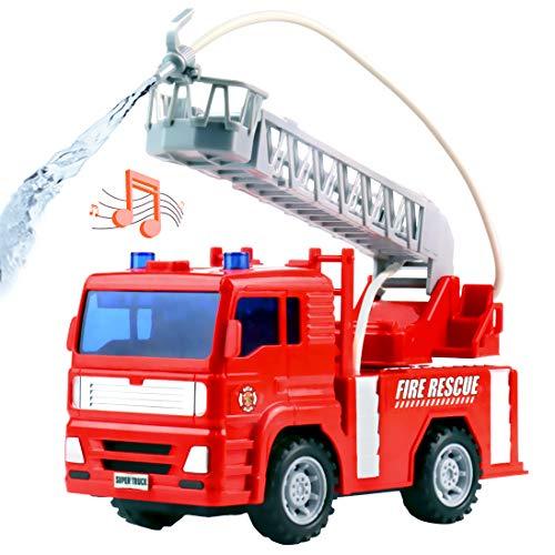 Camión de Bomberos Juguete – Camion de Bomberos Coches de Juguetes con Bomba de Agua Juego Educación Regalo para Niño 3 4 5 6 Años