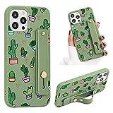ZhuoFan Funda para iPhone 7 Plus / 8 Plus Dibujos Verde Silicona Cárcasa con Soporte Diseño Suave TPU Antigolpes de Protectora [Moda y Practico] Case Fundas para iPhone 8/7 Plus 5,5', Cactus