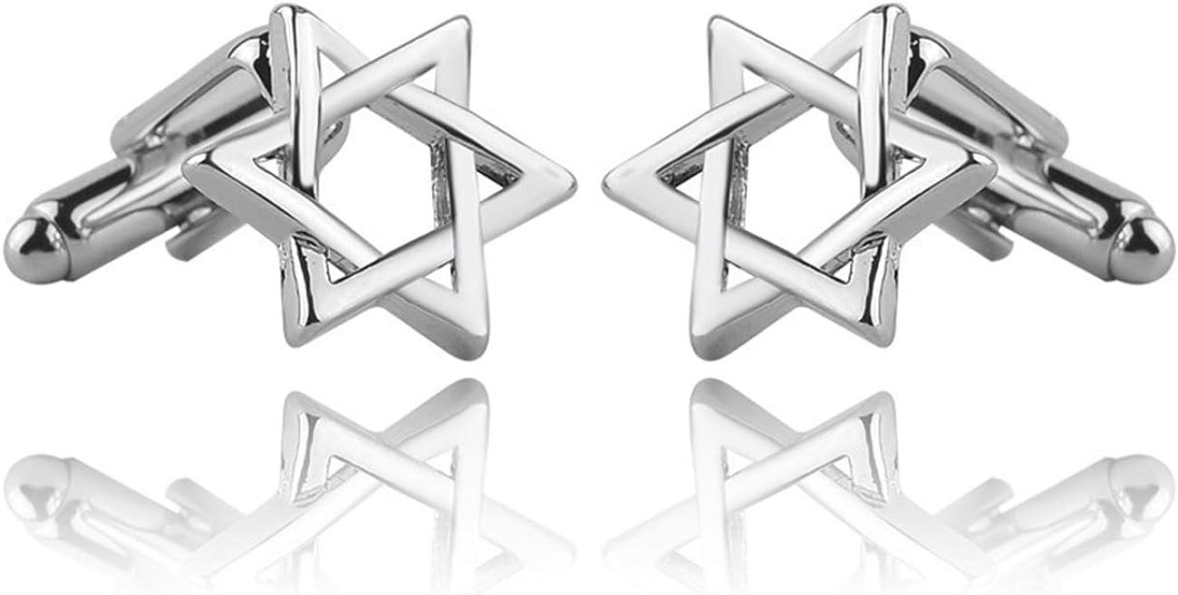 GH8 Mens Classic Stainless Steel Cufflinks Hexagonal Star Cufflinks Business Wedding Shirts