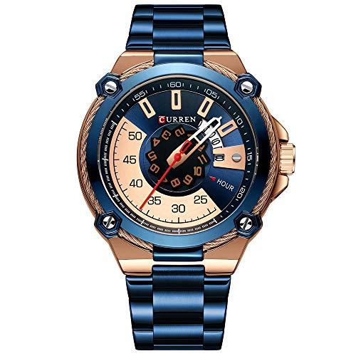 Reloj para Hombre de Moda Relojes analógicos de Cuarzo con Correa de Cuero -D