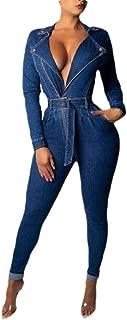 Macondoo Womens Fashion Deep V-Neck Long Sleeve Denim Jean Playsuit Jumpsuit