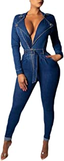 Macondoo Womens Fashion Deep V-Neck Long Sleeve Denim Jean Playsuit Jumpsuit