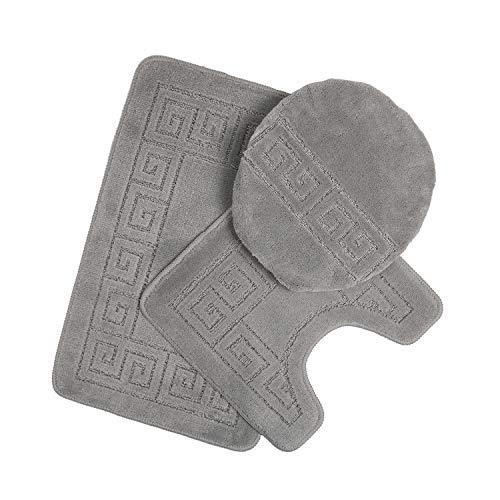 Pauwer - Juego de alfombrillas de baño de 3 piezas, diseño de alfombra de baño de 28.4 x 17.7 pulgadas, alfombrilla de contorno 17.7 x 17.7 pulgadas / cubierta de tapa, Moderno,...