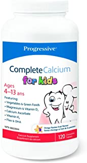 Progressive Complete Calcium for Kids - 250 mg of Calcium, Orange flavour, 120 Chewable Tablets   With essential fatty acids, digestive enzymes, and green food and vegetable concentrates