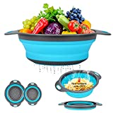 Collapsible Colander Basket 2 of Set,Vegetables Fruit Washing Basket Drain Tool,Small & Big Size Silicone Telescopic Colander with Handle For Kitchen/Home/Restaurant Round Shape 3 Color(Blue)
