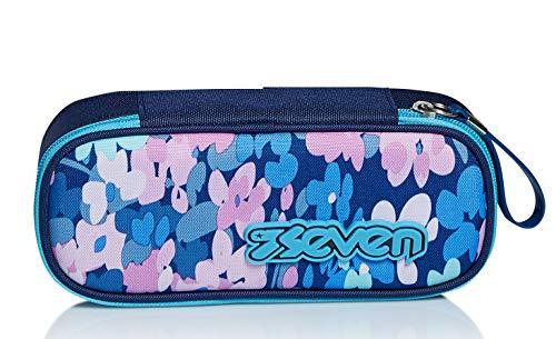 Bustina Ovale Seven, Fluffy Roses, Blu, Attrezzato con Organizer interno porta penne