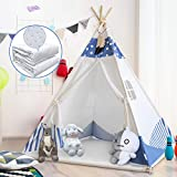 BedStory Teepee Tent for Kids Foldable Play Tent for Girl and Boy, Kids Teepee Tent with Mat &Lights- Children Playhouse for Indoor and Outdoor, Raw White Canva, Toy Gift Idea for Kids
