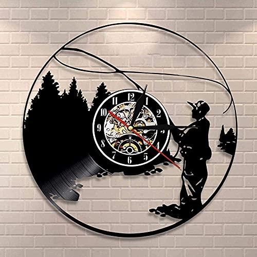 AZDS Decoración del hogar Reloj de pared Pesca Pescador Vista Lago Pared Colgante Arte Vinilo Record Reloj de Pared Pescador Regalo Hombres