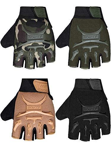 4 Pairs Kids Cycling Gloves Half Finger Bike Gloves Non-Slip Mitten Sport Gloves for Boys and Girls (4-8 Years)