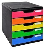 Exacompta 301798D Ablagebox Modulo (DIN A4, mit 5 offenen Laden) 1 Stück schwarz/harlekin glossy