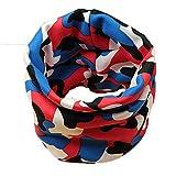 Kinderschal Unendlichkeitsschal, leicht, weich, Tiermuster Gr. One size, Blau Rot Camouflage