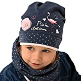 Generisch AJS Baby Mädchen Set Mütze Beanie Loopschal Schal mit Baumwolle Frühling Herbst Flamingo Hergestellt in der EU Achtung bei Farbauswahl Farbe Blau