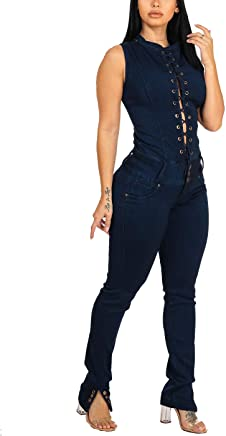 59c153a9958 ModaXpressOnline Women Casual Sexy Curvy Stretchy Skinny Leg Denim Jumpsuit  10999E