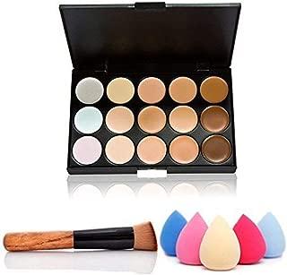 Ndier 15 colores de maquillaje Concealer Crema Contorno Kit mancha de la cara Contorno de resaltado paleta con un pincel y una esponja
