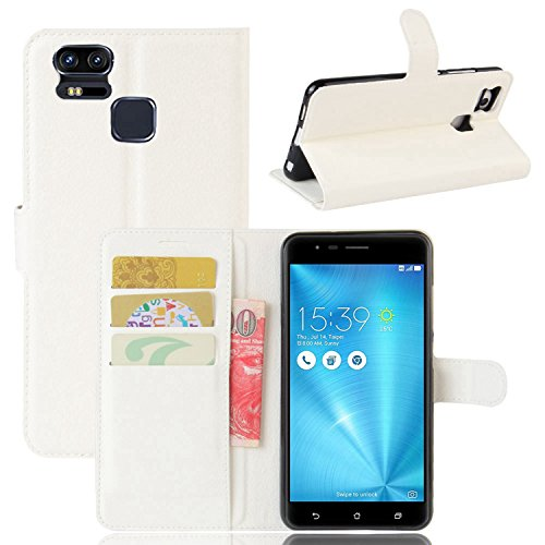 Tasche für Asus ZenFone 3 Zoom ZE553KL (5.5 zoll) Hülle, Ycloud PU Ledertasche Flip Cover Wallet Hülle Handyhülle mit Stand Function Credit Card Slots Bookstyle Purse Design weiß