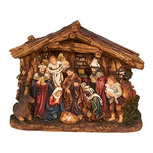 Juvale Nativity Scene - Hand-Painted Christmas Figurine DecorChristian Holy Family Figure with Baby Jesus Nativity Figurine Art Crafts, 6 x 4.5 x 1.6 Inches