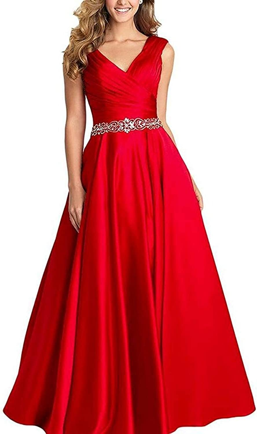 LiBridal Women's Sexy V Neck Satin Prom Evening Dress Formal Beaded Sleeveless Gowns