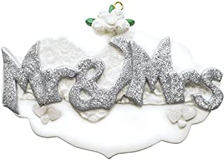 Personalized Mr. & Mrs. Christmas Tree Ornament 2019 - Silver Glitter Sparkle Letter Wedding Invitation Flower Heart Gift Just Married Newlywed Romantic Love Engaged Year - Free Customization