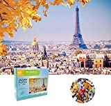 1000 Piece Autumn Eiffel Tower Jigsaw Puzzle Bright Colors Puzzles for Adults and Teen, 29.5 x 19.7in