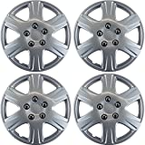OxGord 15 inch Hubcaps Best for 05-08 Toyota Corolla - (Set of 4) Wheel Covers 15in Hub Caps Silver Rim Cover - Car Accessories for 15 inch Wheels - Snap On Hubcap, Auto Tire Replacement Exterior Cap