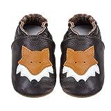 MAECKI Zapatos de piel suave para aprender a andar, para niños, niñas, para gatear, para bebés, suela de ante antideslizante, color, talla 18-24 meses