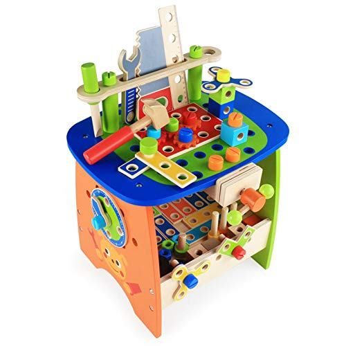 chora Kids Workbench Kids Tool Bench Set Building Tools Sets Pretend Play Toys with 88 Kinds of Accessories For 3 Year Olds and Up Kids Baby Toddler Children Girls and Boys