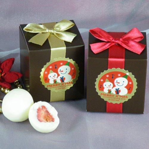雪だるまシール付きレッドリボン&ゴールドリボンのクリスマスボックスのプチギフト(ホワイトストロベリーチョコ2粒入り)1個【プチギフト クリスマス期間限定】