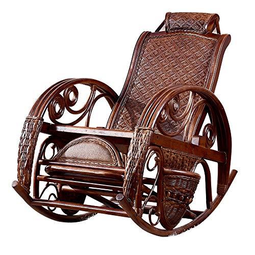 Bqy Rattan Wicker schommelstoel Houten ligstoel Outdoor of Indoor Natural Rotan Wicker handgemaakt design allweather Proof