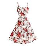 EMPERSTAR Vestido De Fiesta para Mujer Vestido De Verano Estampado Boho Vestido De Noche Floral con Columpio Rojo M