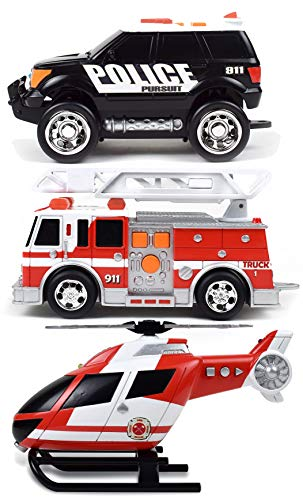 Sunny Days Entertainment Mini Rescue Vehicles 3 Pack – Lights and Sounds Pull Back Toy Vehicle with Friction Motor | Includes Police SUV Fire Truck and Helicopter – Maxx Action (320349)