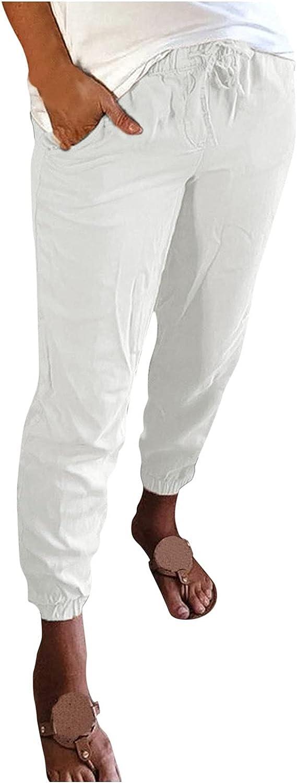 NEEKEY Womens Cropped Pants Loose Comfy Workout Drawstring Lounge Pants Sweatpants with Pocket Trousers Capris Pants