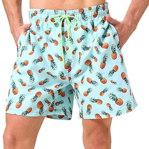 coskefy Badeshorts für männer Jungen Badehose Schwimmhose Schnelltrocknend Kurz Beachshorts Boardshorts Strand Shorts Sporthose mit Mesh-Futter Tunnelzug(Blaugrün-Ananas,L (EU)-MarkeGröße XL)