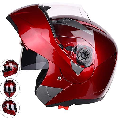 Moto Helm, Klappbarer Motorrad Fahrradhelm, Jethelm, Motorradhelm Doppelte Sonnenblende Atmungsaktiv,XXL