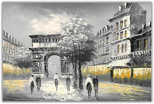 whmckl El icónico Arco del Triunfo Amarillo en París, Francia, Lienzo Enmarcado, impresión del Arte, decoración para el hogar, Pintura al óleo, Lienzo, reimpresión, 40x59 (16x20 Pulgadas)