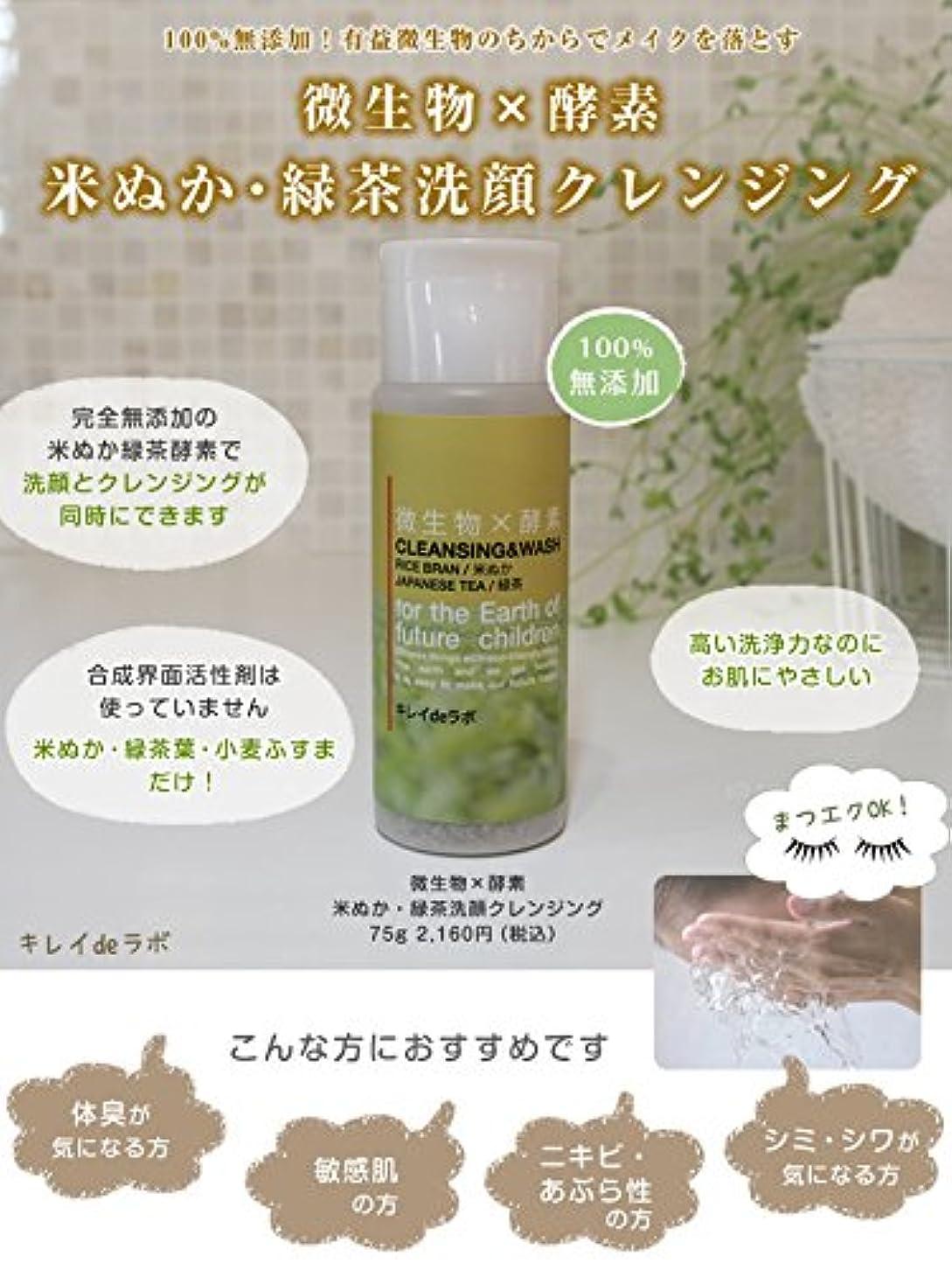 任命する釈義グラマー微生物×酵素 米ぬか緑茶洗顔クレンジング100%無添加 マツエクOK … (本体 75g) みんなでみらいを 米ぬか使用