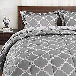 An elegant 3-piece bed set in grey and white color.