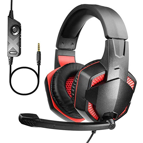 Surround Sound Headphones Headband Stereo Gaming Headset with Control of Volume and Microphone Flexible Microphone 3.5mm Jack for swtich ps4 xbox mobile phone tablet laptop desktop computer ggsm