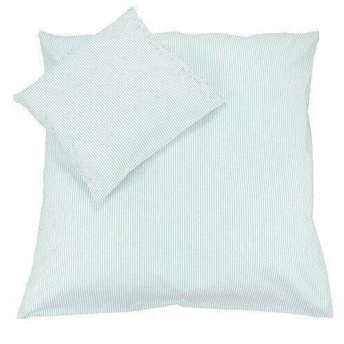 Sugarapple Babybettwäsche, 2 TLG. Set mit Deckenbezug 80 x 80 cm und Kissenbezug 40 x 35 cm, Baby Bettwäsche aus 100% Öko-Tex Standard 100 Baumwolle, Streifen Mint