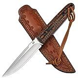 AUBEY Cuchillo de caza, afilado D2, hoja de acero inoxidable con exquisita funda de piel, hoja fija, cuchillo de supervivencia, camping al aire libre, cuchillo de supervivencia, mango G10