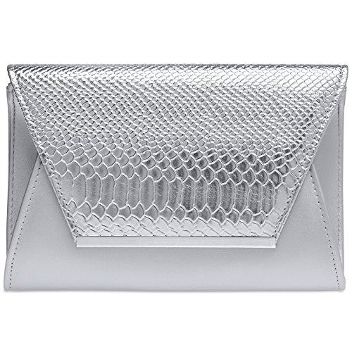 Caspar TA386 Donna Pochette Grande XL Effetto Coccodrillo, Colore:argento, Dimensioni:Taglia unica